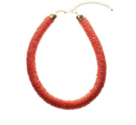 Orange Tango Bugle Bead Tube Necklace LOVISA $19.99