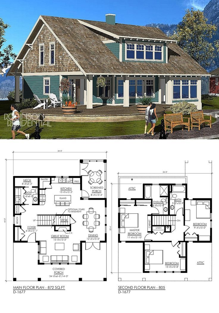 Craftsman D1677 House plan with loft, Lake house plans