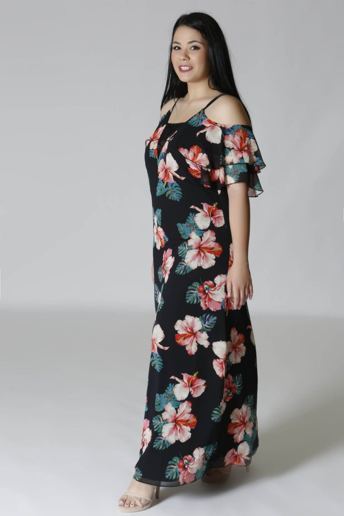 a2918e35629f Maxi φόρεμα floral cold shoulders - HappySizes
