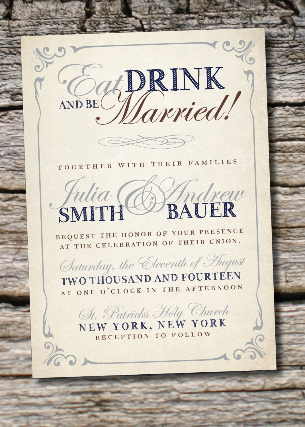 Eat Drink Be Married Poster Style Wedding Etsy Printing Wedding Invitations Vista Print Wedding Invitations Wedding Invitations