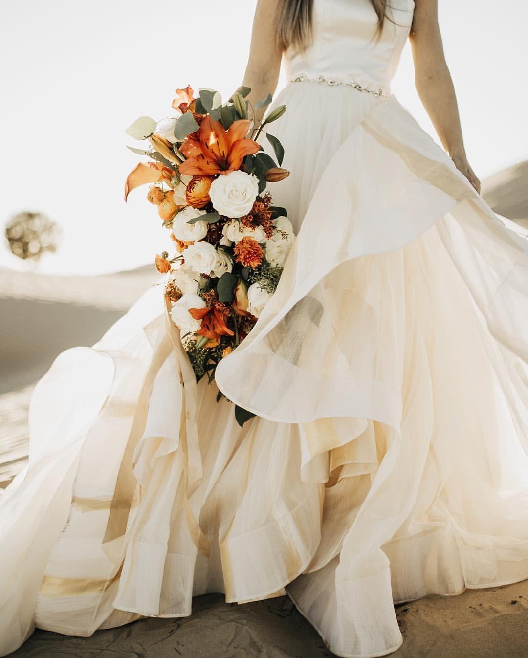 Orange White Floral Bouquet Bride Hand Painted Wedding Dress Ruffle Wedding Dress Wedding Dresses