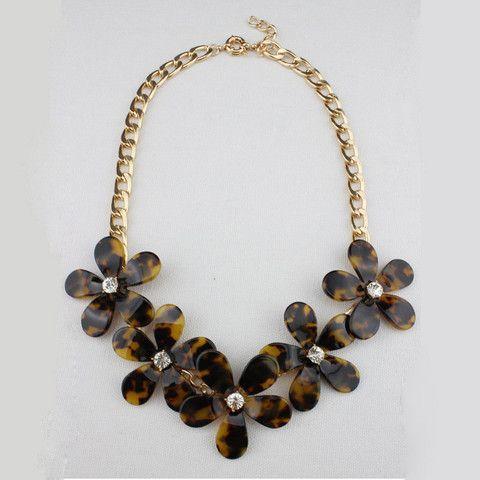 Tortoise Flower Necklace - Oversize Blooms – Fanduoduo Jewelry