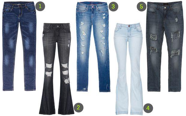 Uma seleção com 40 peças jeans para turbinar o seu look  Calça Ela não pode faltar! Boyfriend, skinny, flare, barra reta... Qual tem mais a ver com você?