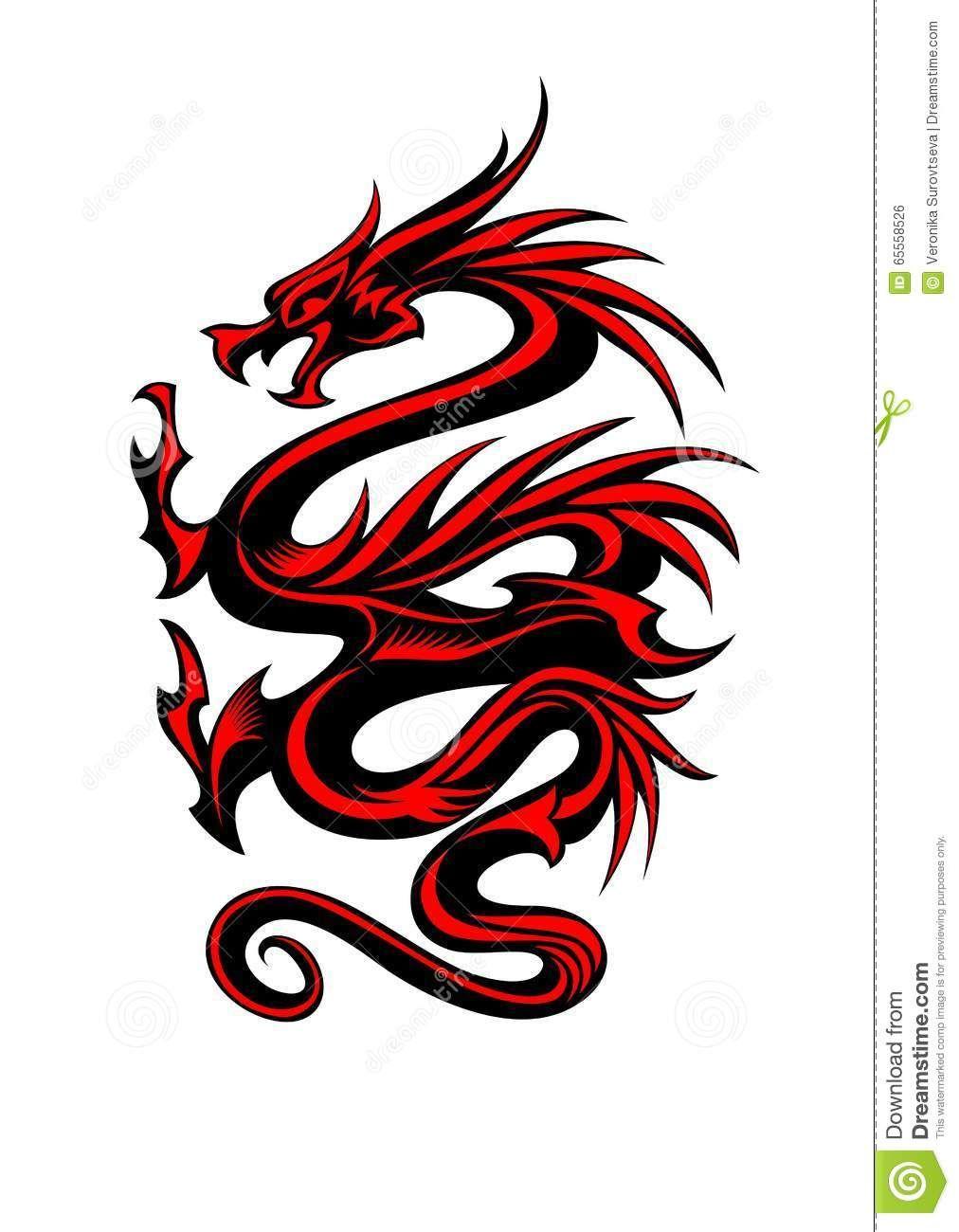 Amazing Red Dragon Tribal Tattoo Design Dragoon In 2018 Pinterest