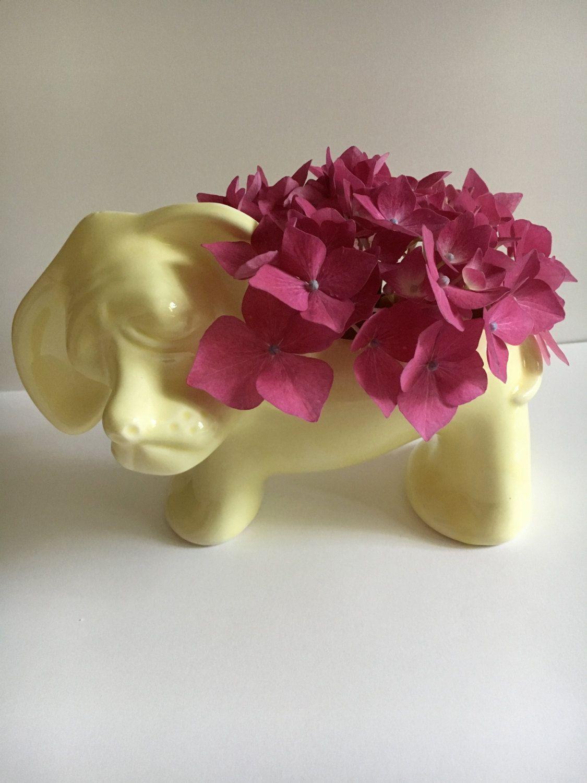 Vintage Ceramic Dog Planter, Hound dog yellow planter, flower pot, dog collector planter, table top vase. Yellow hound dog. Yellow pot by KyriesTreasureChest on Etsy
