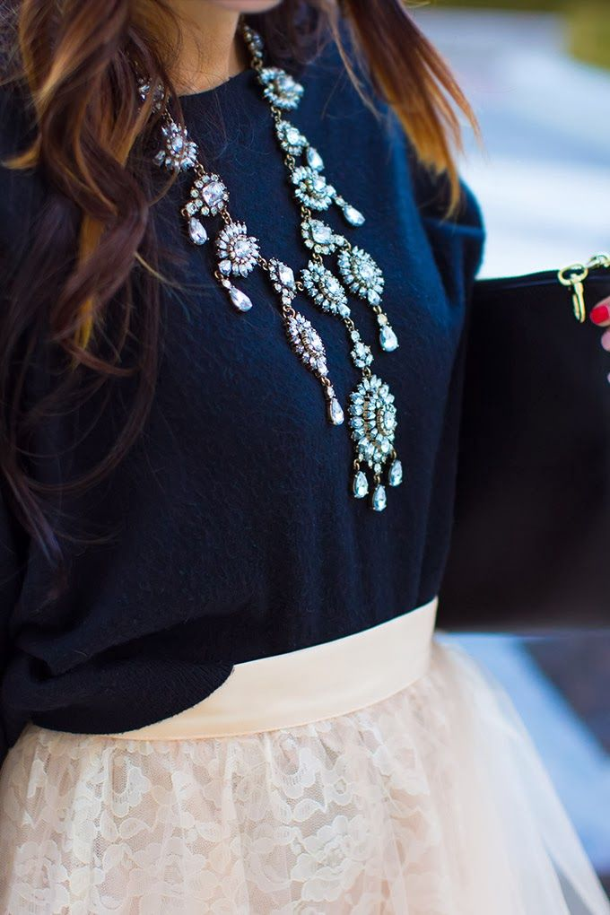 Princess Tulle Skirt + Navy Sweater + Statement Necklace.