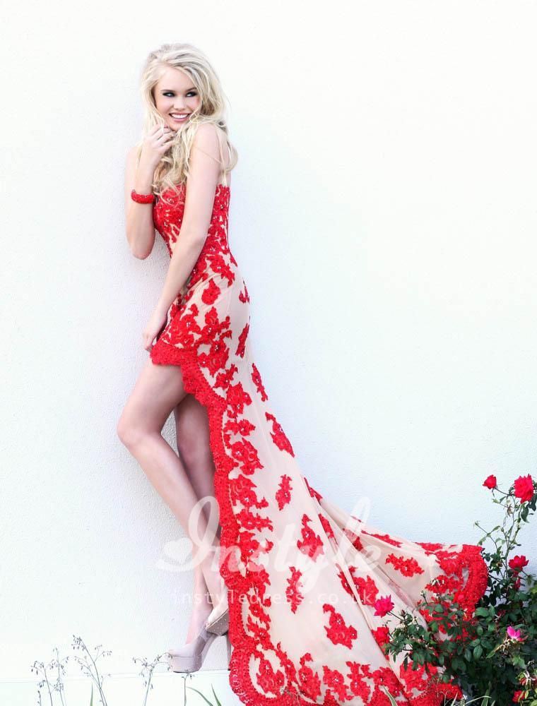 strapless high-low red prom dress with lace overlay | Style ;D ...