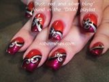 Nail red rust and silver bling tutorial