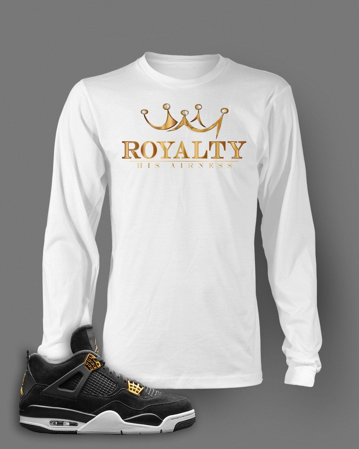 1e00d93297ea Long Sleeve T Shirt To Match Retro Air Jordan 4 Royalty Shoe Custom Mens Tee  Design S M L XL XL-Tall 2XL 2XL-Tall 3XL 3XL-Tall LENGTH 28