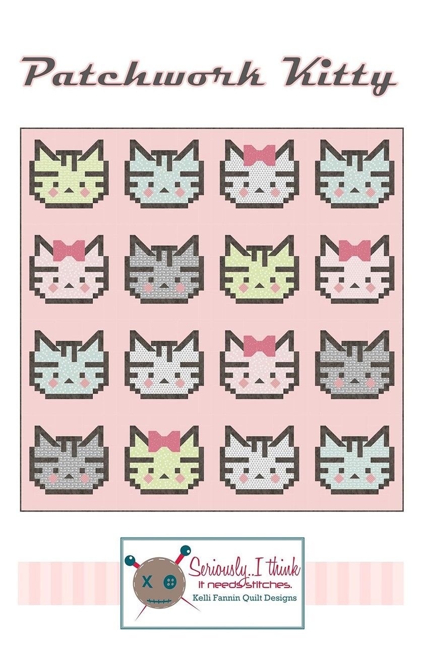 V.I.P 100/% Cotton Pre Cut FQ Kittens On Green Background