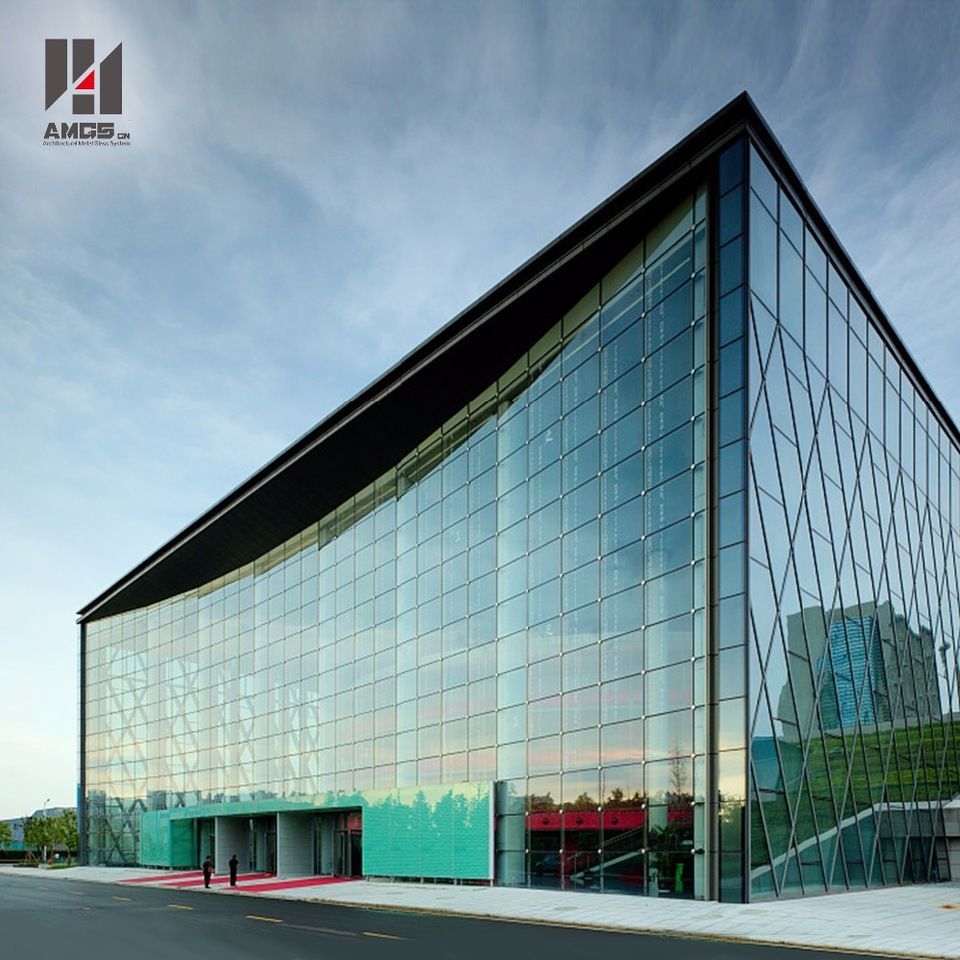 Modern Exterior Building Office Glass Walls Point Supported Glass