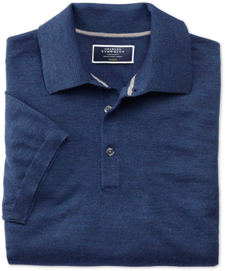 d7c6e65cb Mid Blue Merino Wool Polo Collar Short Sleeve Sweater Size Large by Charles  Tyrwhitt