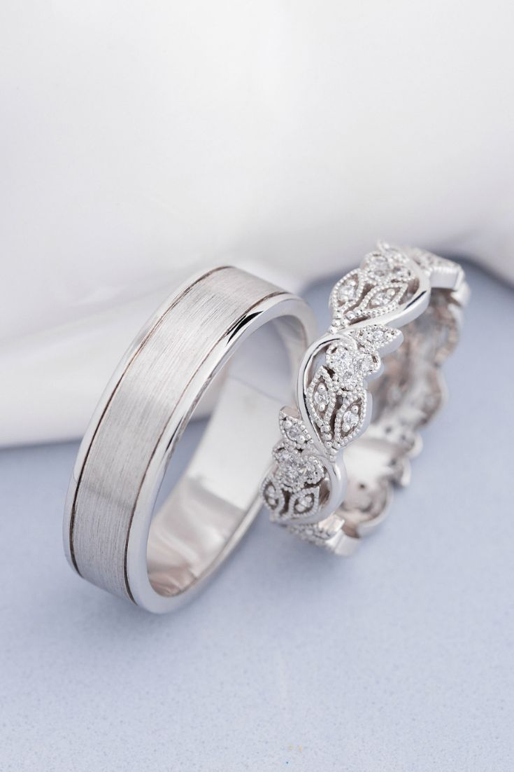 Photo of His and hers wedding bands. White gold wedding rings. Diamond Wedding Rings Co – New Fashion Rings