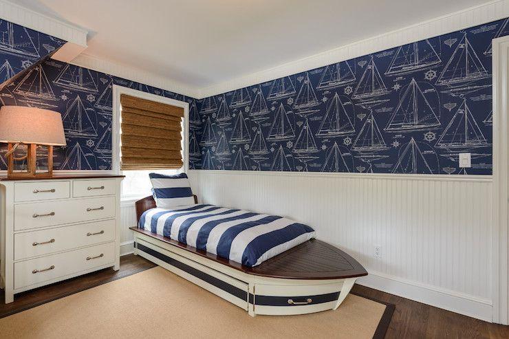 Boy S Bedroom Ralph Lauren Chesapeake Wallpaper Sdboat Ii Bed And Trundle Nautical Bead Board Walls Under Window In Front Of