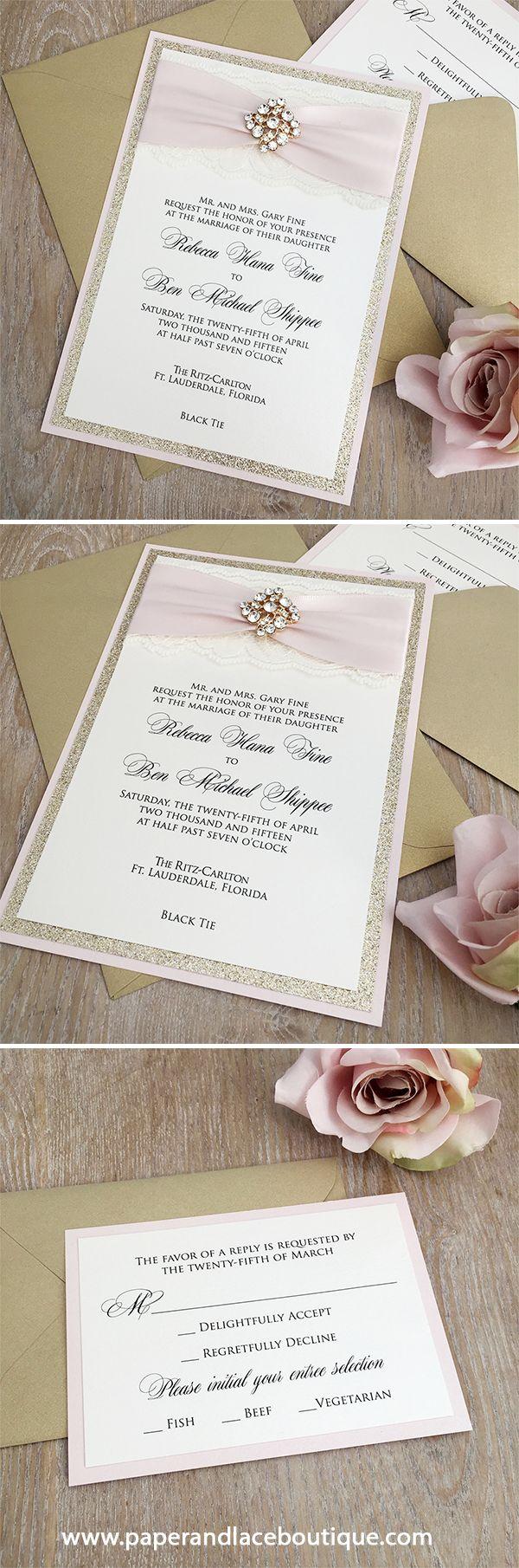 REBECCA - Blush Pink and Gold Glitter Wedding Invitation - Ivory ...