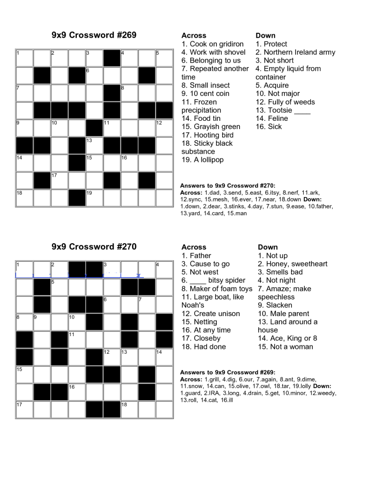Handy image for easy printable crosswords