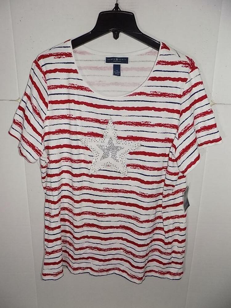 Karen Scott Womens Plus Embellished Striped T-Shirt