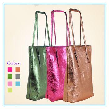 Genuine leather women shoulder bag 2013 new metal color bags shoulder handbag for girls,dull polish shopper bag totes bag