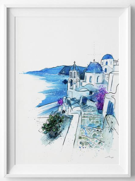 Greece Print Santorini Print Travel Prints Santorini Watercolour Mykonos Travel Illustrated Art Print Travel Wall Art