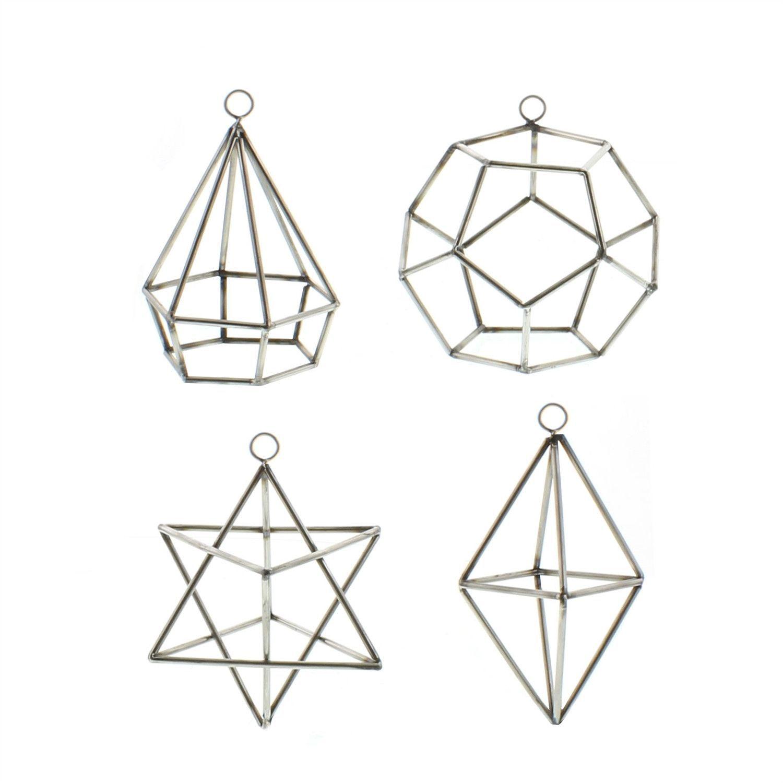 Steel Geometric Ornaments - Set of Four