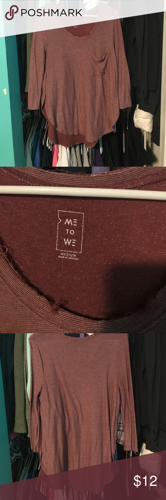 Me to We raw edge flows shirt Raw edge hem shirt, worn a few times, great condition, tulip type shirt, maroon color Pacific Sunwear Tops Tees - Long Sleeve