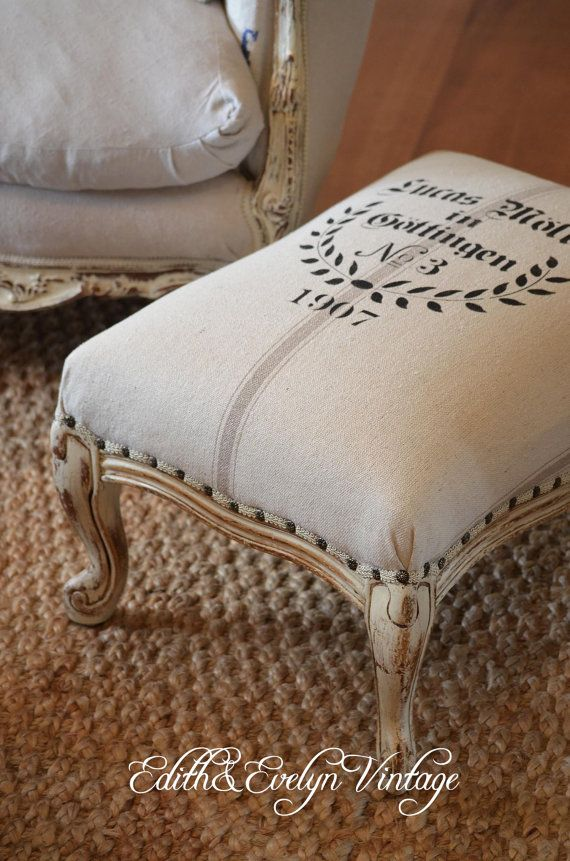 Vintage French Provincial Foot Stool, European Grain Sack Upholstery,  Bench, Nail Head Trim