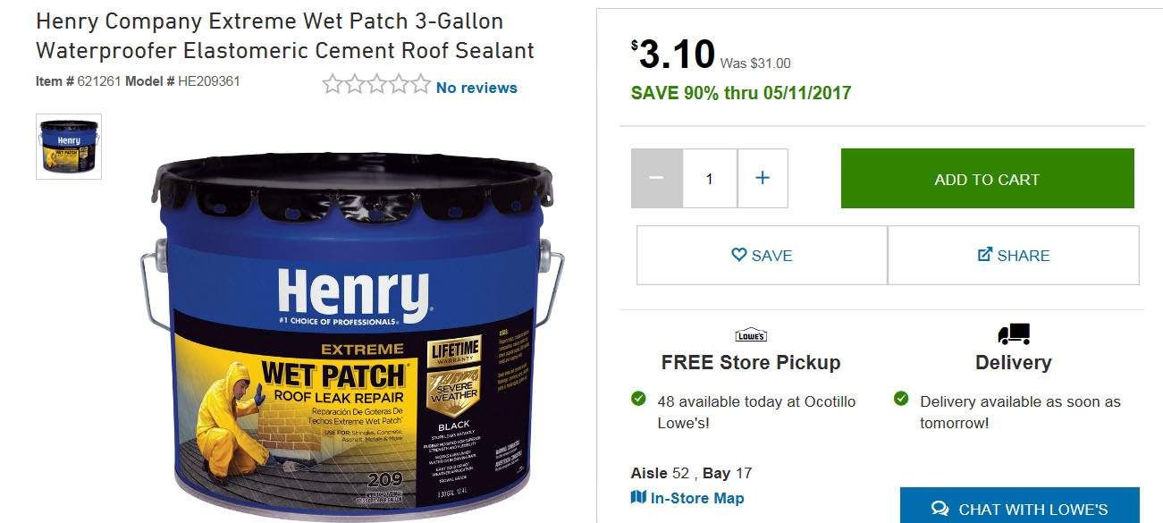 Lowes Extreme Ymmv Henry Company Extreme Wet Patch 3 3 Gallon Waterproofer Elastomeric Cement Roof Sealant 209 Roof Sealant Waterproofers Roof Leak Repair