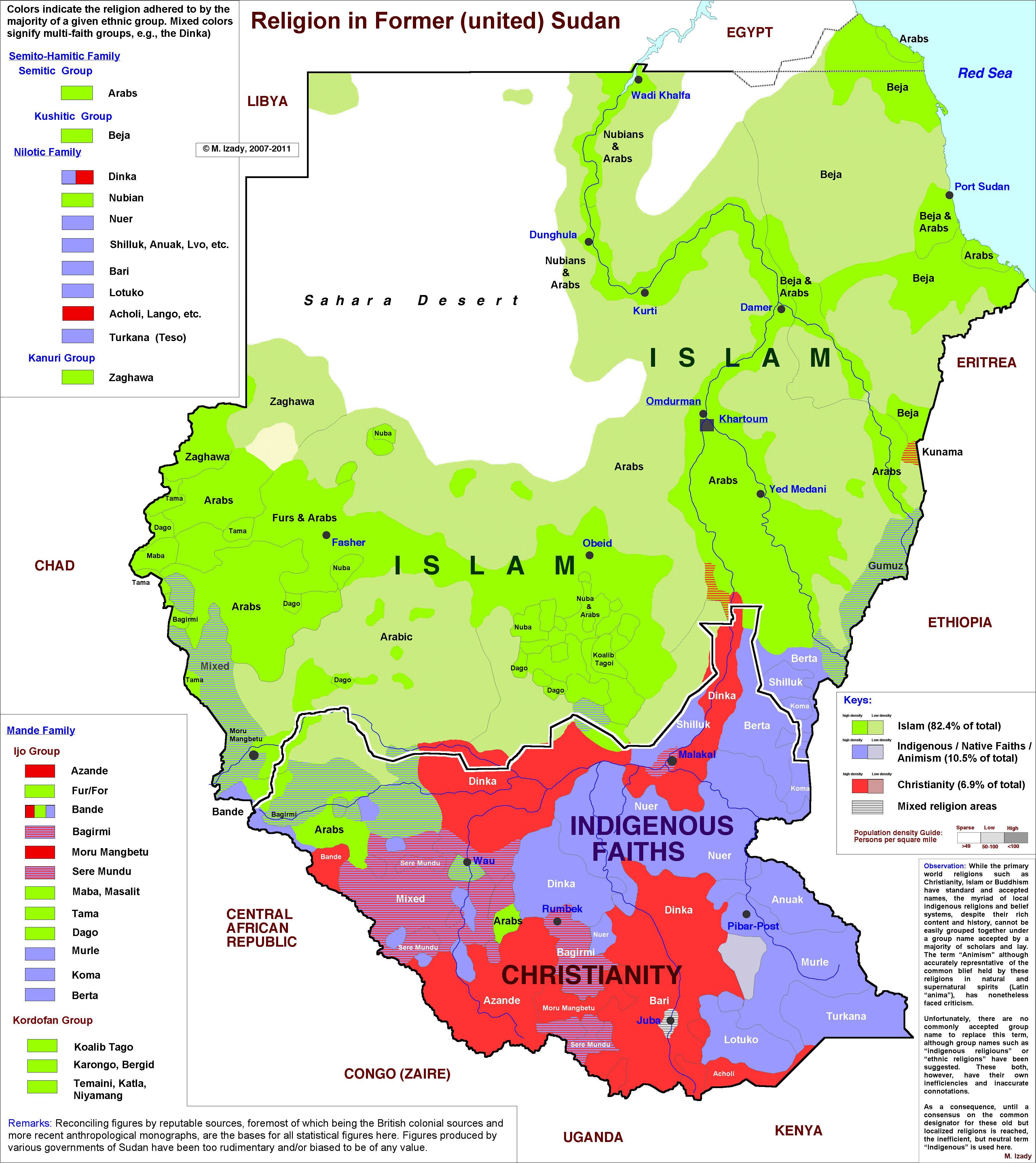 [Map] Religion In Sudan & South Sudan [3598 × 4037]