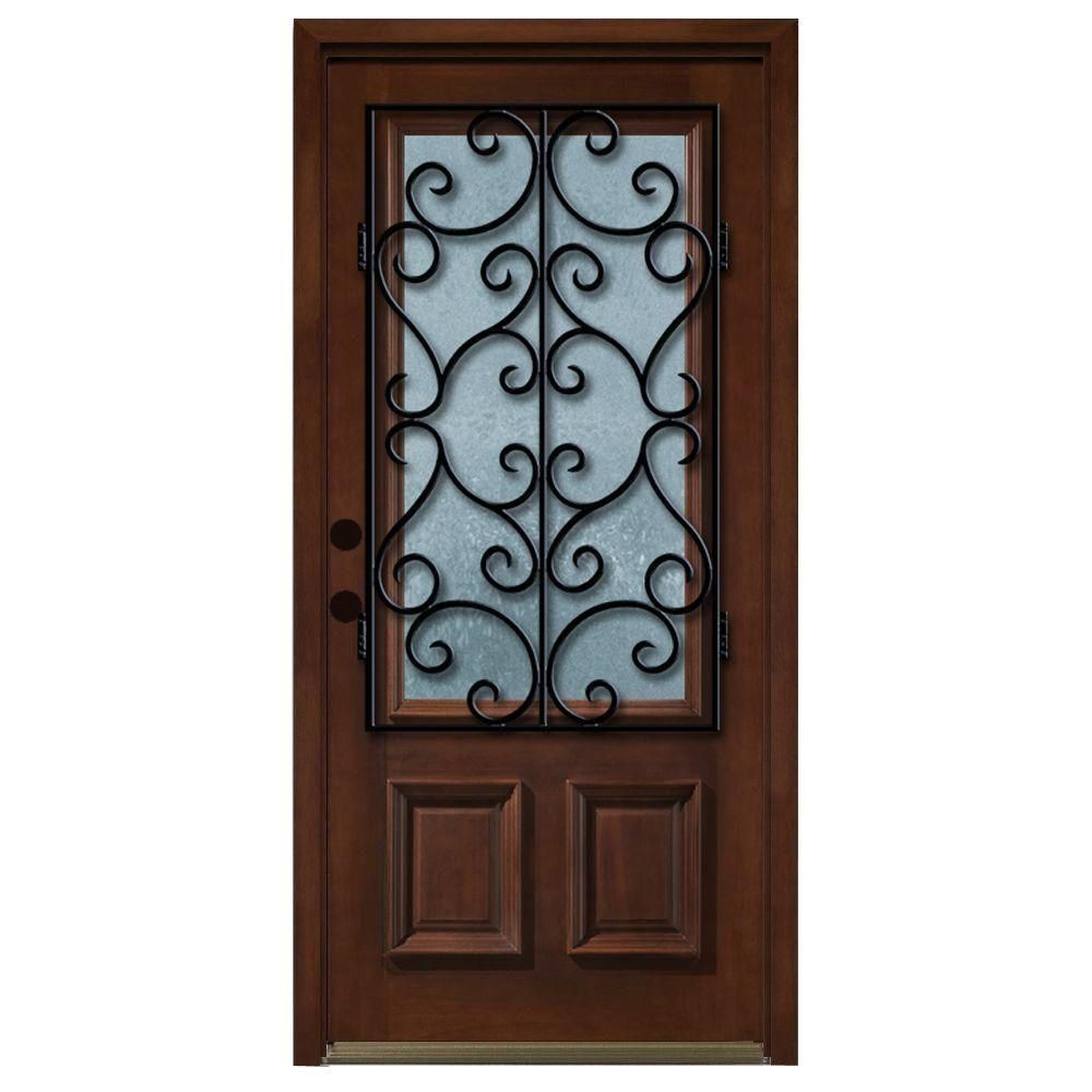 Steves Sons Decorative Iron Grille 34 Lite Stained Mahogany Wood
