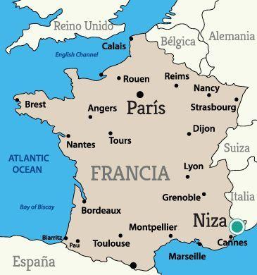 Mapa De Francia Ciudades.Mapa Para Ubicar La Bellisima Ciudad De Niza Francia En