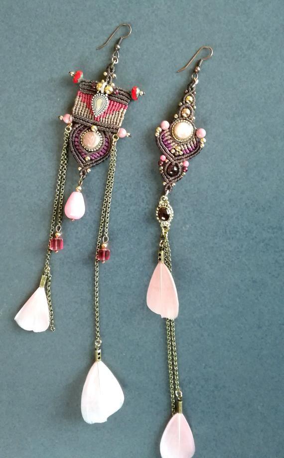 Earrings, macrame jewelry, boho jewelry, macrame jewelry, rhodochrosite jewelry boho jewelry gypsy jewelry hippie chic jewelry