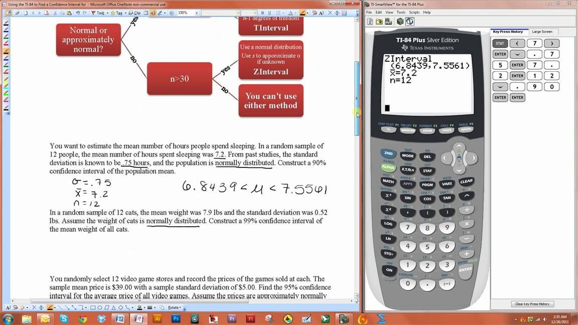 Using The Ti 84 To Find A Confidence Interval For A Population Mean Zinterval And Tinterval Confidence Interval Graphing Calculator Intervals