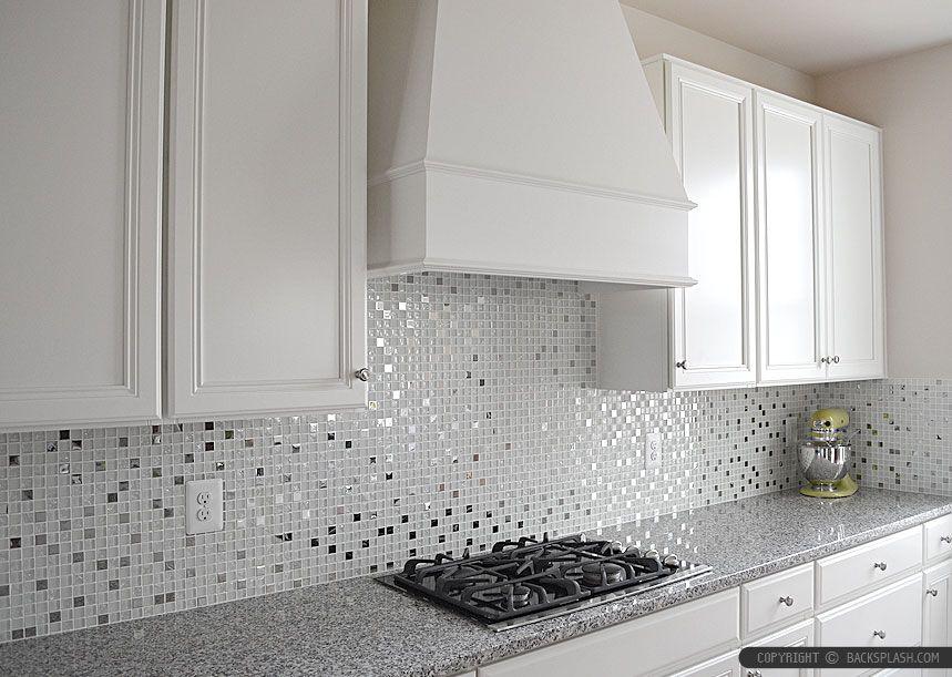 5 White Glass Metal Backsplash Tile Luna Pearl Granite Countertop Modern Kitchen Backsplash Kitchen Backsplash Panels Backsplash For White Cabinets