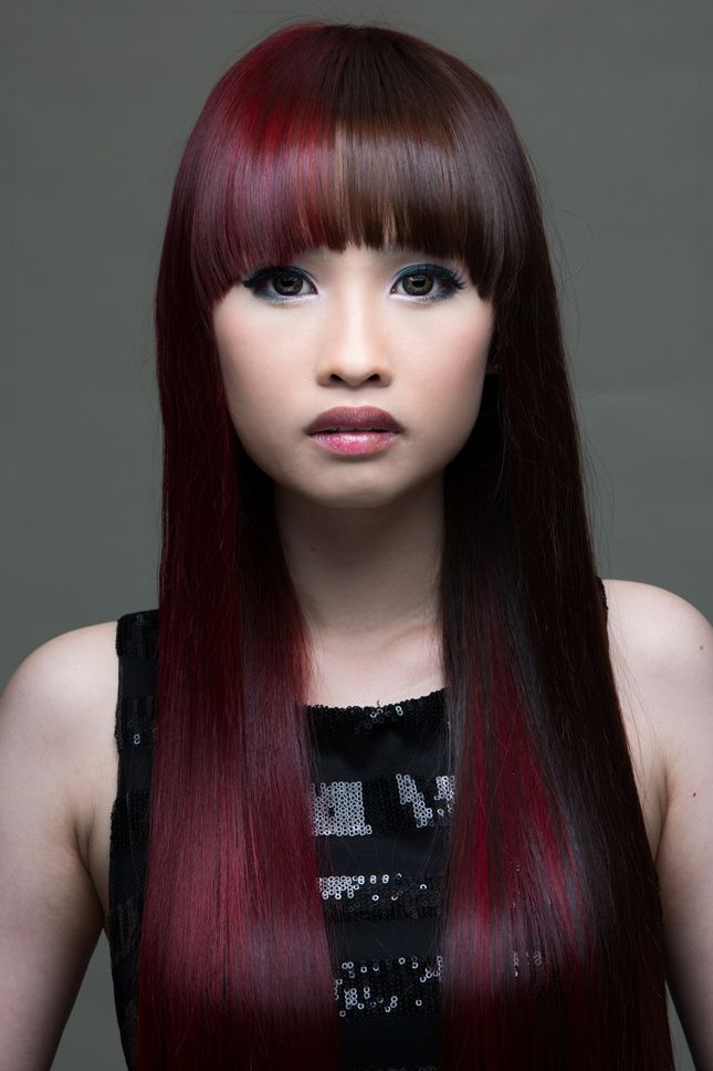Split Dyed Hair In Burgundy And Dark Brown Colors Haircolor