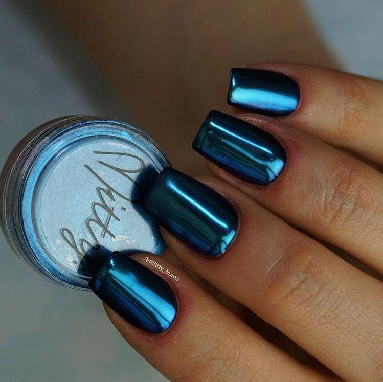 Mitty SUPER Chrome Nail Art Powder- Aquamarine | Chrome nail art ...