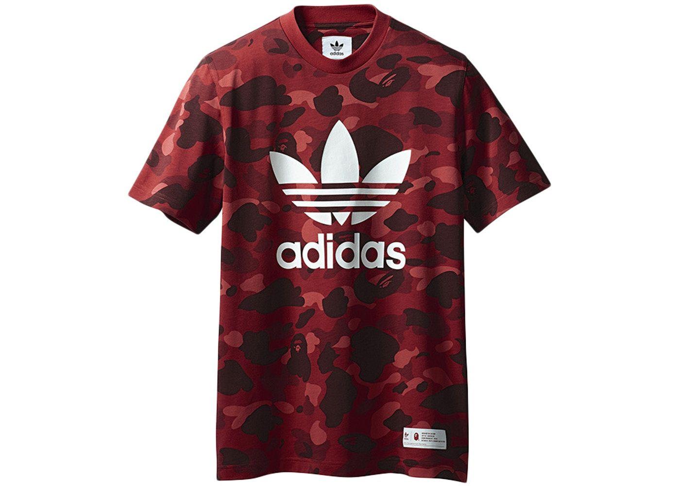 8f64f6df BAPE x adidas adicolor Tee Raw Red in 2019   shose   Bape, Adidas ...