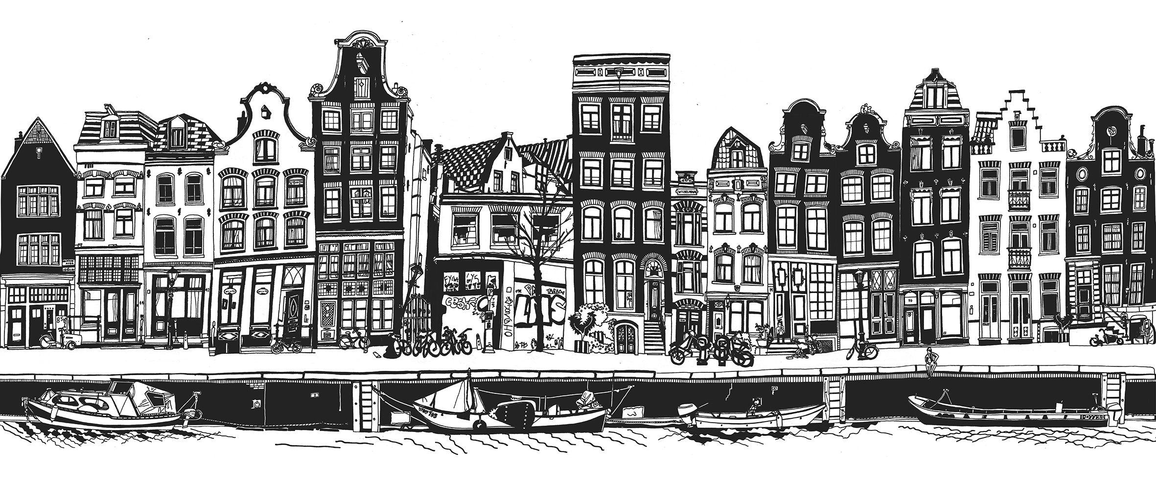 Amsterdam Black And White Http Www Studioellessi Com Store P81 Print Amsterdam Black And White 28 23140011 29 Amsterdam Houses Amsterdam Art Skyline Drawing