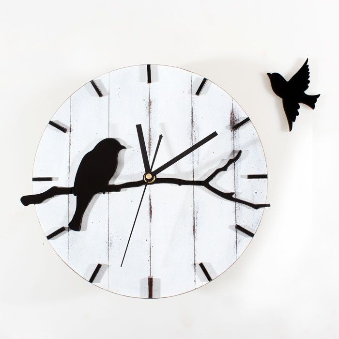 Retro Style Wall Clock Cute Bird Wood Wall Clock Mute Quartz Wall Clock Living Room Wall Clock Wall Clocks Living Room Diy Clock Wall Clock Wall Decor