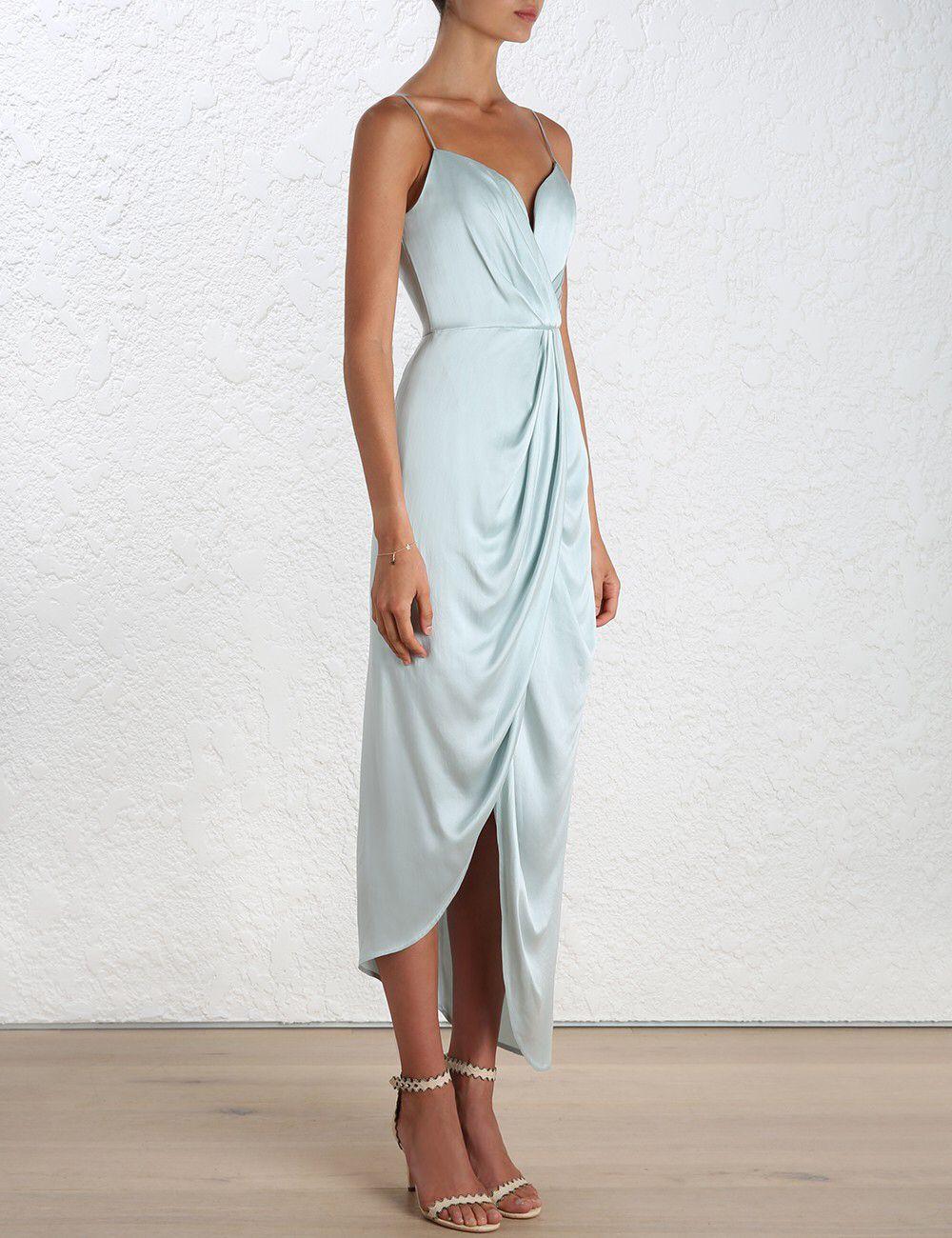 Zimmerman suede silk drape dress in Sage AW16  4e63a881d