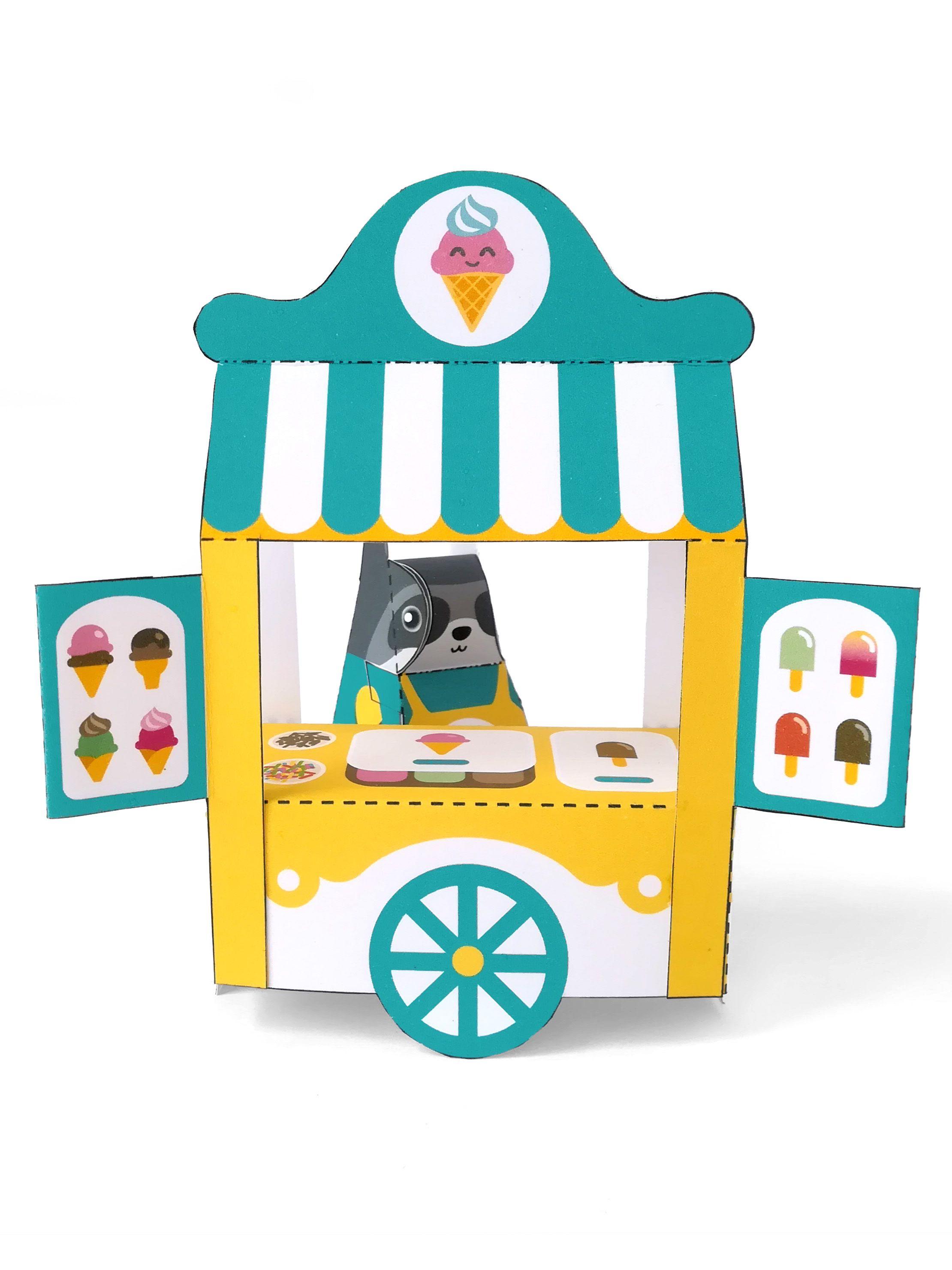 diy papercraft kit ice cream stand playset pdf paper toy