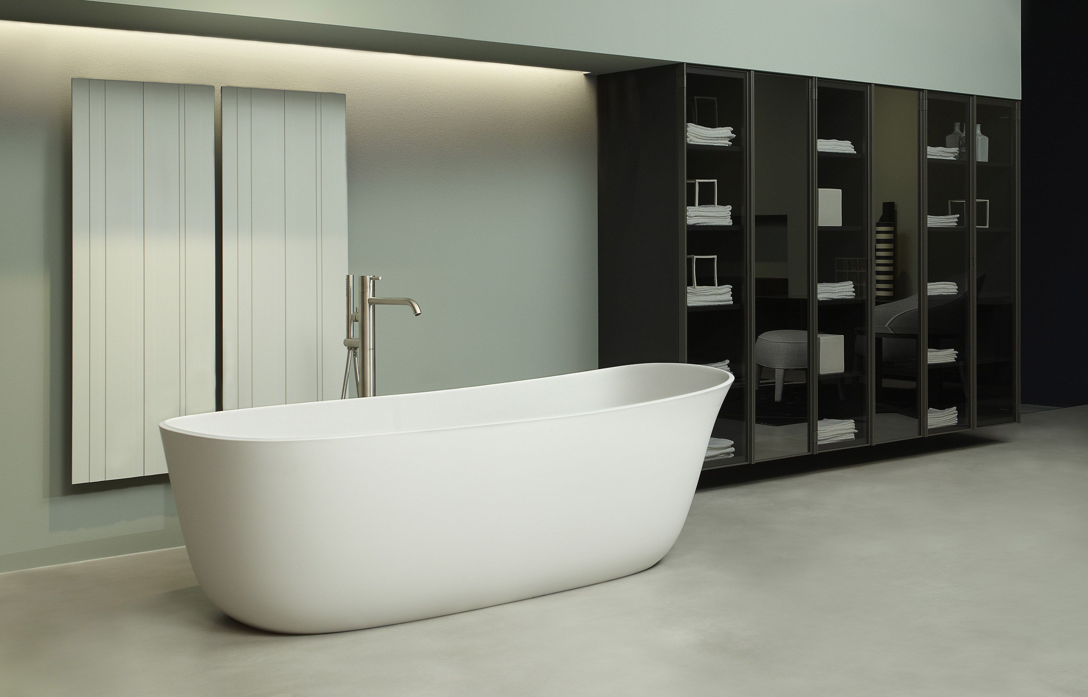 Deltacalor TaoSystem Designer Porte-serviettes ouverture rails ensuite salle de bain moderne