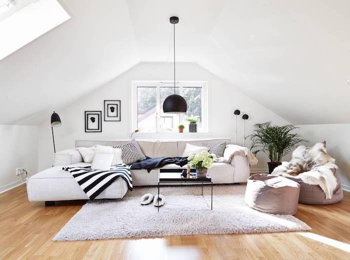 Dachschrägen Farblich Gestalten Weiß Schwarz Und Grau Können So Schick Und  Toll Aussehen Grüne Farbe Im