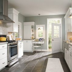 Dark Slate Kitchen Floor White Cabinets Google Search