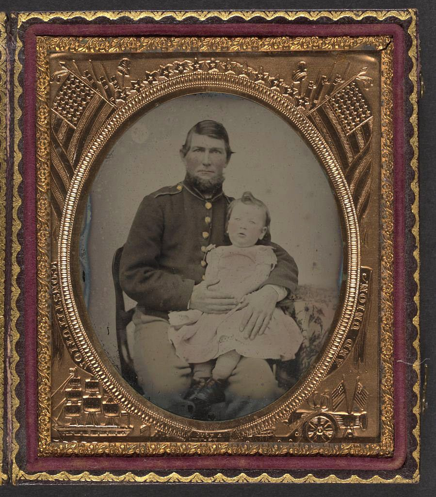 [Unidentified soldier in Union uniform holding a young chi… | Flickr
