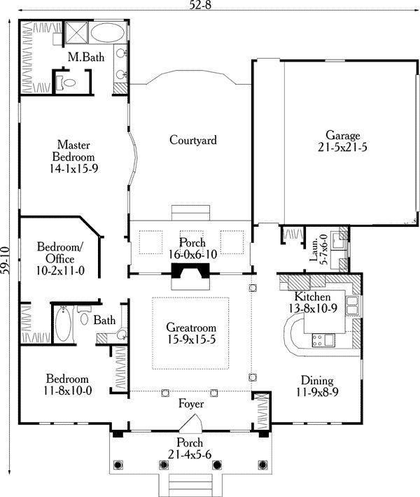 House Plan 40027 With 3 Bed 2 Bath 2 Car Garage U Shaped