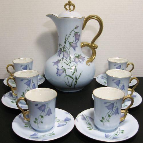 Vintage J.P. Jean Pouyat China Hot Chocolate Pot 6 Demitasse Cup & Saucer Set