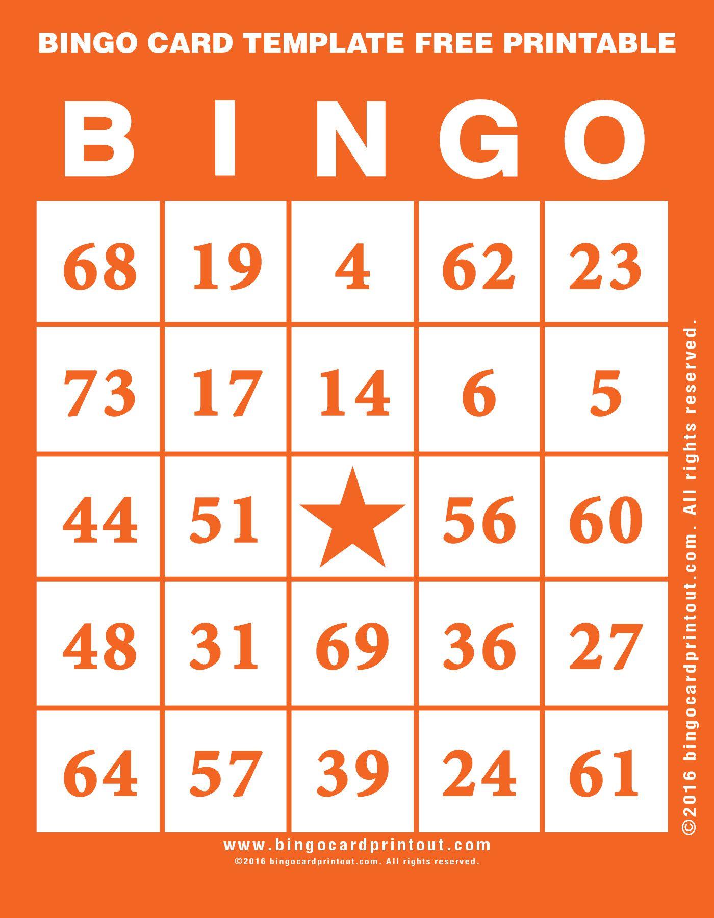 Bingo Card Template Free Printable   Bingo    Bingo