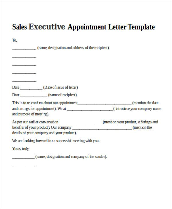 Sales Letter For Format Appointment Sample Letters Doc Marketing