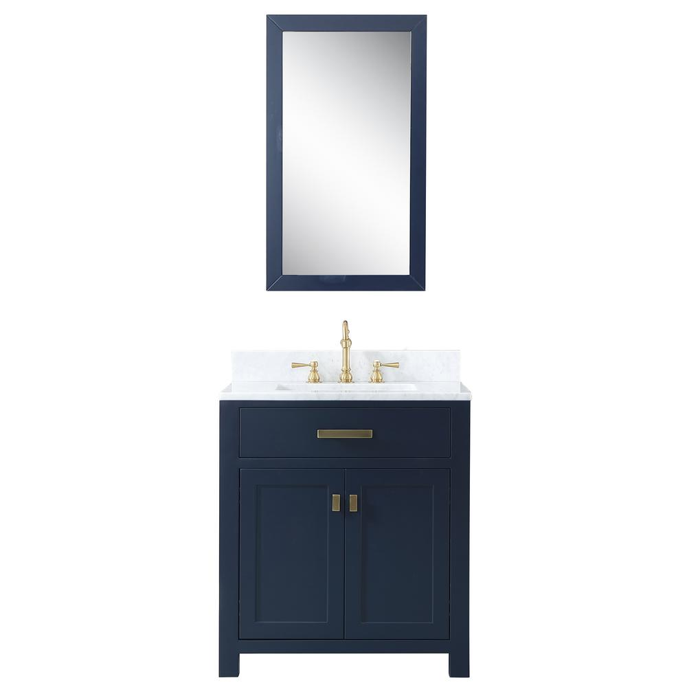 Water Creation Madison 30 In W X 21 5 In D X 34 In H Bath Vanity In Blue With Marble Van Single Sink Bathroom Vanity Marble Vanity Tops Bathroom Sink Vanity