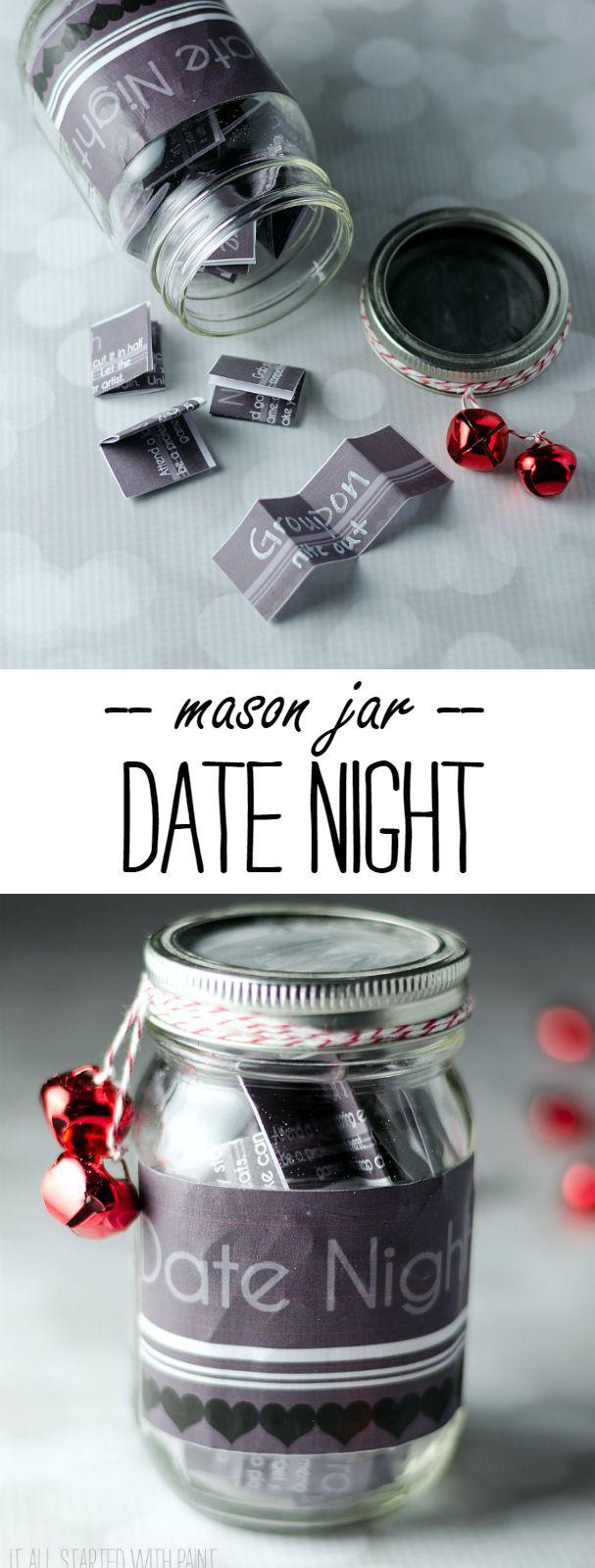 Mason Jar Craft Ideas - Date Night in Mason Jar Gift Idea - Mason Jar Gift Ideas